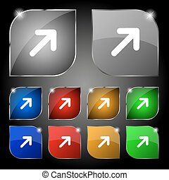 Arrow Expand Full screen Scale icon sign. Set of ten colorful buttons with glare. Vector