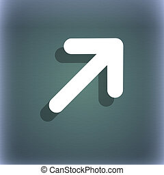 Arrow Expand Full screen Scale icon symbol on the blue-green abstract background with shadow and space for your text.