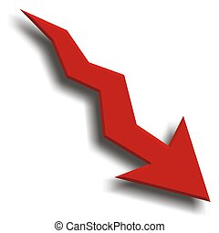 Economy Recession - Arrow fall down with graph background...