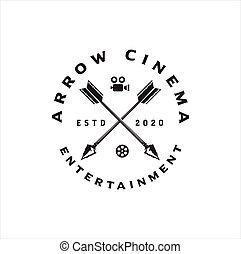 Arrow Film Stripes for Movie Cinema Productions logo design Illustration Vintage Hipster