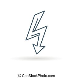 Arrow flash icon white background - Electric thunderbolt...