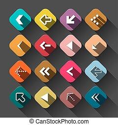 Arrow. Flat Design Vector Colorful Long Shadow Arrows Set.