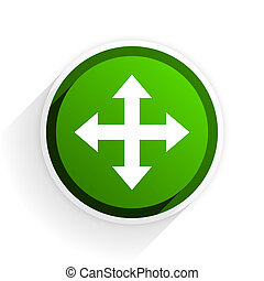 arrow flat icon with shadow on white background, green modern design web element