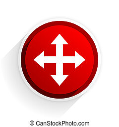 arrow flat icon with shadow on white background, red modern design web element