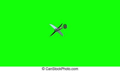 Arrow flying towards dart board and hitting target on green screen background