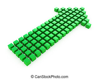arrow from cubes - Green arrow symbol from cubes isolated on...