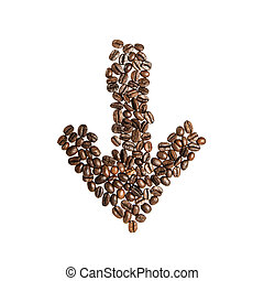 Arrow from the coffee beans isolated on white