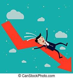 arrow., gráfico, caricatura, caer, rojo, hombre de negocios