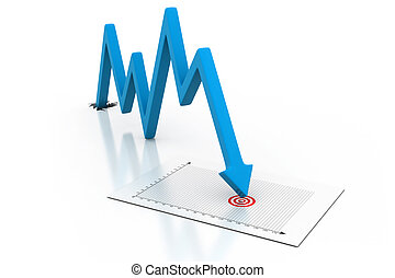 Arrow Graph showing business decline