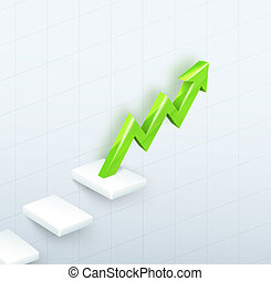 Arrow Graph with steps up - 3d vector green arrow graph with...
