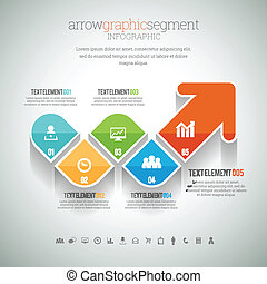 Arrow Graphic Segment Infographic - Vector illustration of...