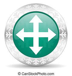 arrow green icon, christmas button