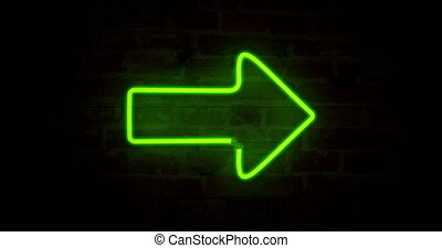 Arrow green neon light - Green arrow neon symbols on brick...