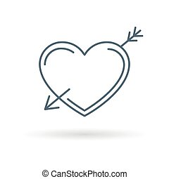 Arrow heart icon white background