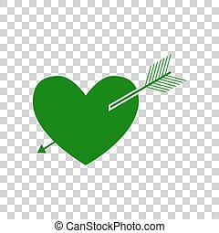 Arrow heart sign. Dark green icon on transparent background.