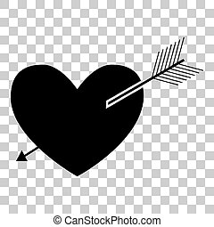 Arrow heart sign. Flat style black icon on transparent background.