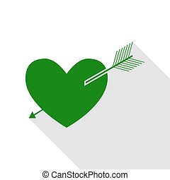 Arrow heart sign. Green icon with flat style shadow path.