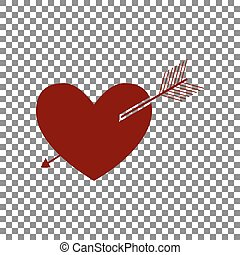 Arrow heart sign. Maroon icon on transparent background.