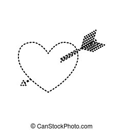 Arrow heart sign. Vector. Black dashed icon on white background. Isolated.