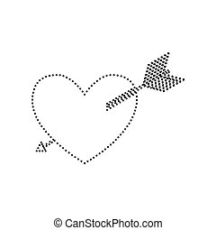 Arrow heart sign. Vector. Black dotted icon on white background. Isolated.