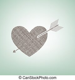 Arrow heart sign. Vector. Brown flax icon on green background with light spot at the center.