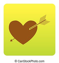 Arrow heart sign. Vector. Brown icon at green-yellow gradient square with rounded corners on white background. Isolated.