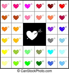Arrow heart sign. Vector. Felt-pen 33 colorful icons at white and black backgrounds. Colorfull.