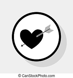 Arrow heart sign. Vector. Flat black icon in white circle with shadow at gray background.