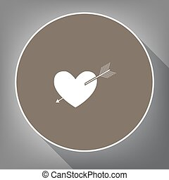 Arrow heart sign. Vector. White icon on brown circle with white contour and long shadow at gray background. Like top view on postament.