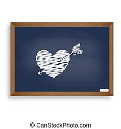 Arrow heart sign. White chalk icon on blue school board with...