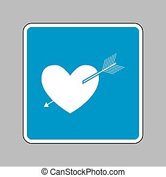 Arrow heart sign. White icon on blue sign as background.