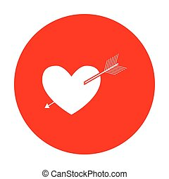 Arrow heart sign. White icon on red circle.