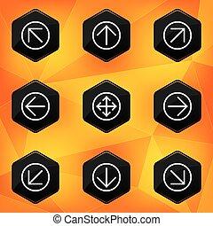 Arrow. Hexagonal icons set on abstract orange background