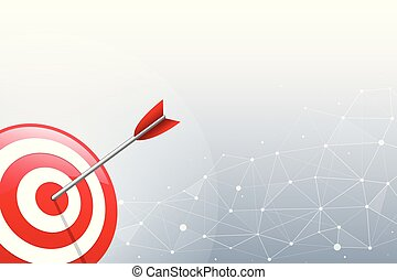 Arrow hitting a target dart on connection point and line background. Concept for target marketing, technology, network connection and target arrow.