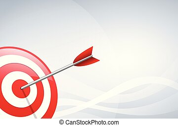Arrow hitting a target dart on wave shape background. Concept for target marketing, technology, network connection and target arrow.