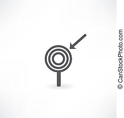 arrow Hitting A Target, Isolated On White Background,