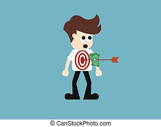 Arrow hitting target. Business concept. vector illustration.