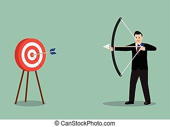 Arrow hitting target