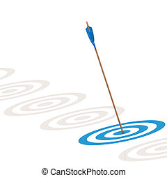 Arrow hitting the center of a blue board