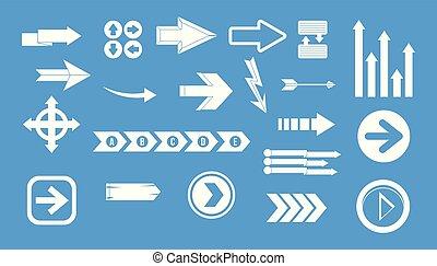 Arrow icon blue set vector