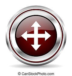 arrow icon chrome border round web button silver metallic pushbutton