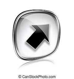 Arrow icon grey glass, isolated on white background