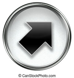 Arrow icon grey, isolated on white background.