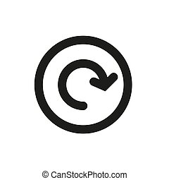 Arrow icon in a circle on a white background. Vector illustration.