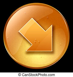 Arrow icon, isolated on black background.