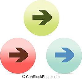 arrow icon on circular button set