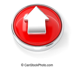 Arrow icon on glossy red round button