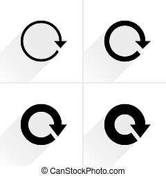 4 arrow icon. Set 01. Reload, refresh, rotation, reset, repeat sign. Black pictogram with gray long shadow on white background. Simple, solid, plain, flat style Vector illustration web design 8 eps