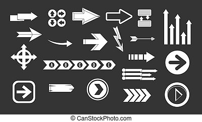 Arrow icon set grey