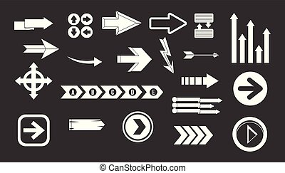 Arrow icon set grey vector
